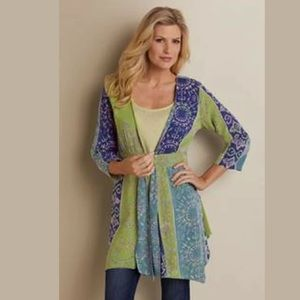 Soft Surroundings Tunic Carnival Topper Cardigan L